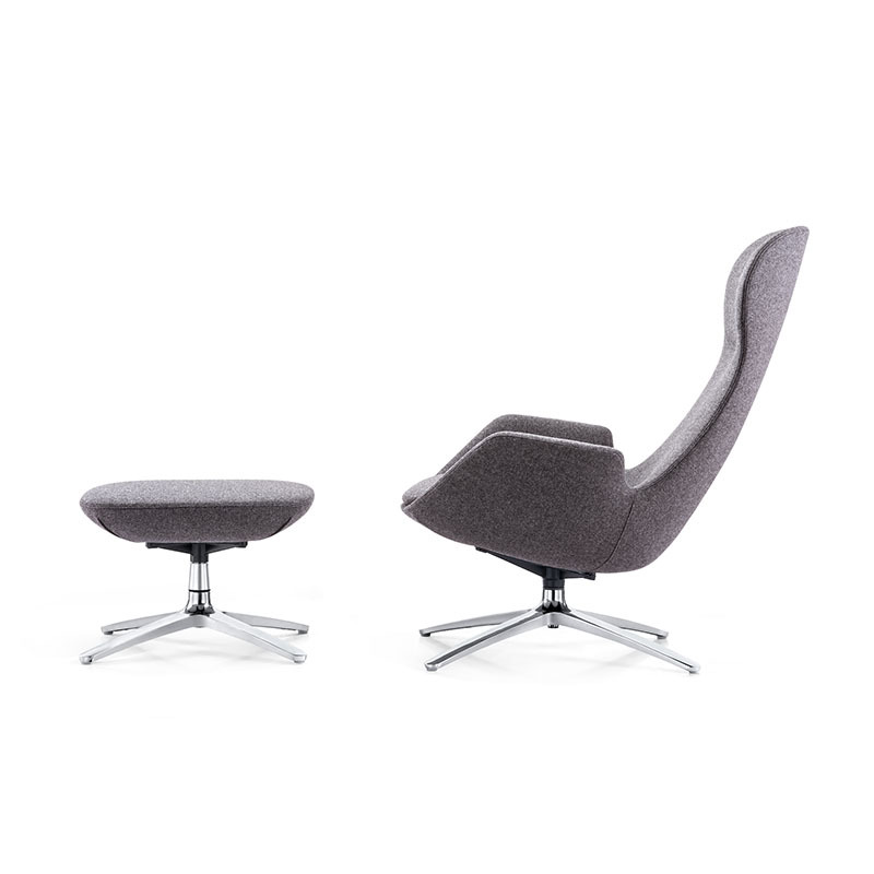 F1703 + T1703 French Modern Metal Base Swivel Leisure Lounge Upholstered Chair-Furicco